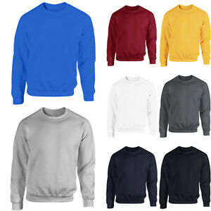 Mens-Women-Plain-Cotton-Sweater-Sweatshirt-Crewneck-Jumper-Pullover-Casual-Tops