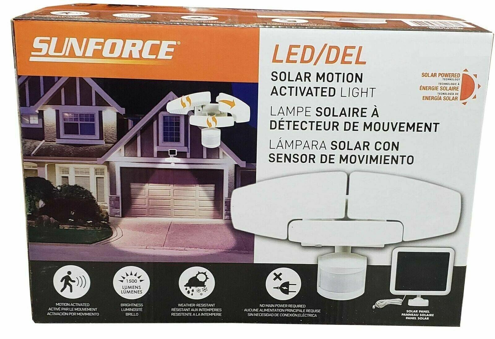Sunforce 1500 Lumen LED movimiento activada Triple Cabeza Luz Solar De Seguridad-Nuevo