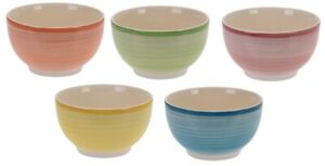 Set-Of-5-LARGE-Soup-Bowls-700ml-Cereal-Bowl-Bright-Colour-Striped-Stoneware