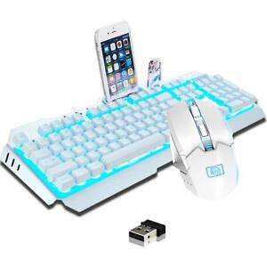 LED Backlit Gaming Keyboard and 2400DPI Gamer Mouse Combo Rechargeable Wireless