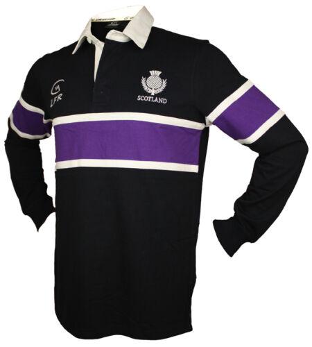 Sizes XS Mens Rugby Top Shirt Scotland Long Sleeve Purple Stripe Thistle 3XL