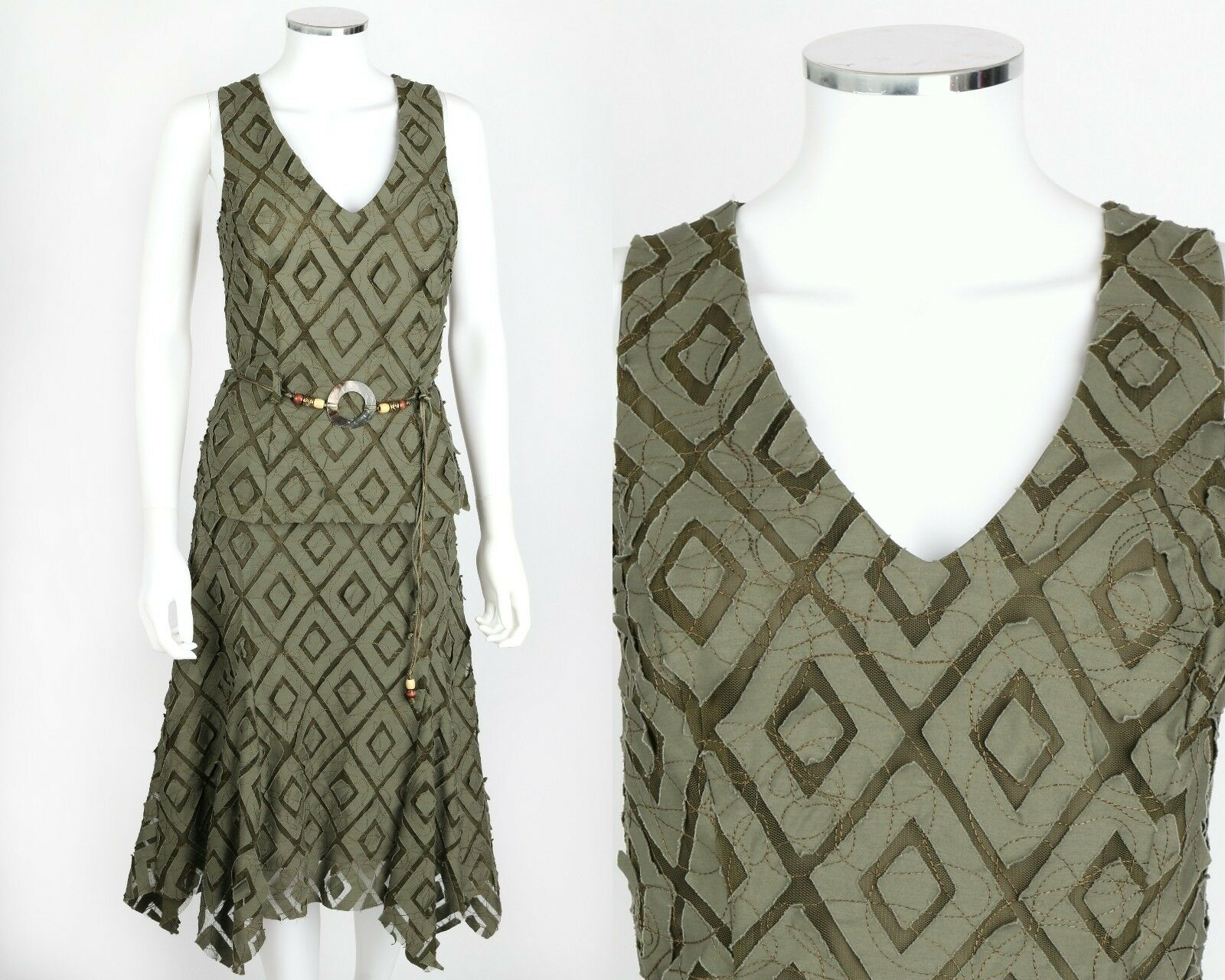 FRANK LYMAN DESIGN 2 PC GREEN EMBROIDERED NET SLEEVELESS TOP SKIRT BELT SET 8 10