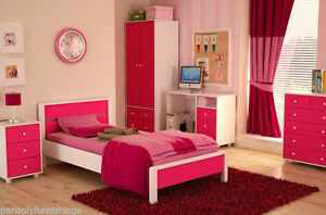 Miami Pink Girls Bedroom Furniture Range - Wardrobe, Bed, Drawers ...