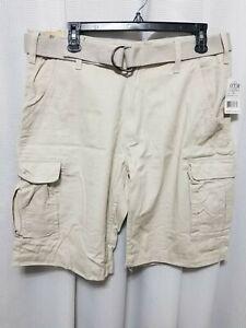 16c465173c OTB Men's Cotton Cargo Shorts SZ 34 Sand Stone Color With Belt NWT ...