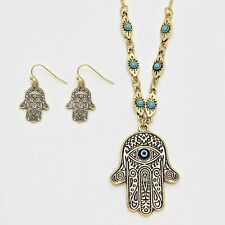 Hamsa Hand Fatima Evil Eye Charm Pendant Necklace & Earring set