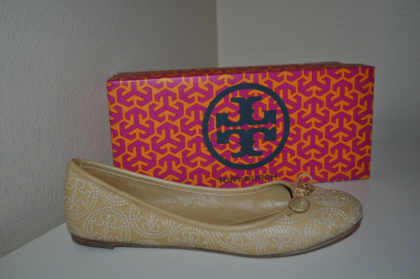 NIB Tory Burch Beige S 9.5 CHELSEA Stitched Gold Logo Beige Burch Leather Ballet Flat Shoes 80790c