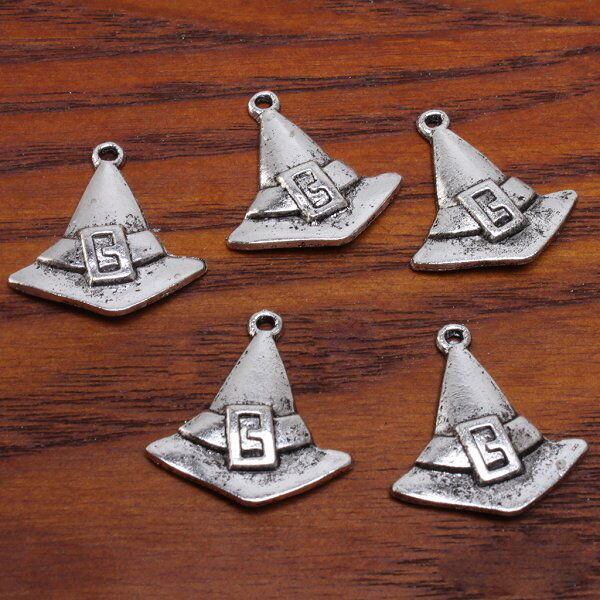 50x 141401 Antique Silvery Halloween Witch Hats Charms Pendants Findings 25mm