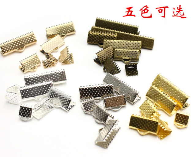 Metal Diy Ribbon Cord Clamp Ends Crimp Clip Beads Connector Silver