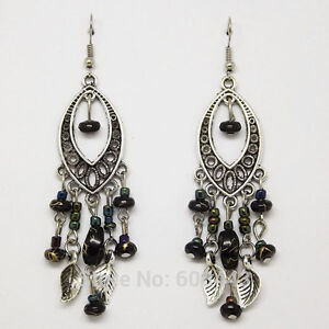 Image Is Loading Tibetan Silver Plated Vintage Style Black Beads Leaves