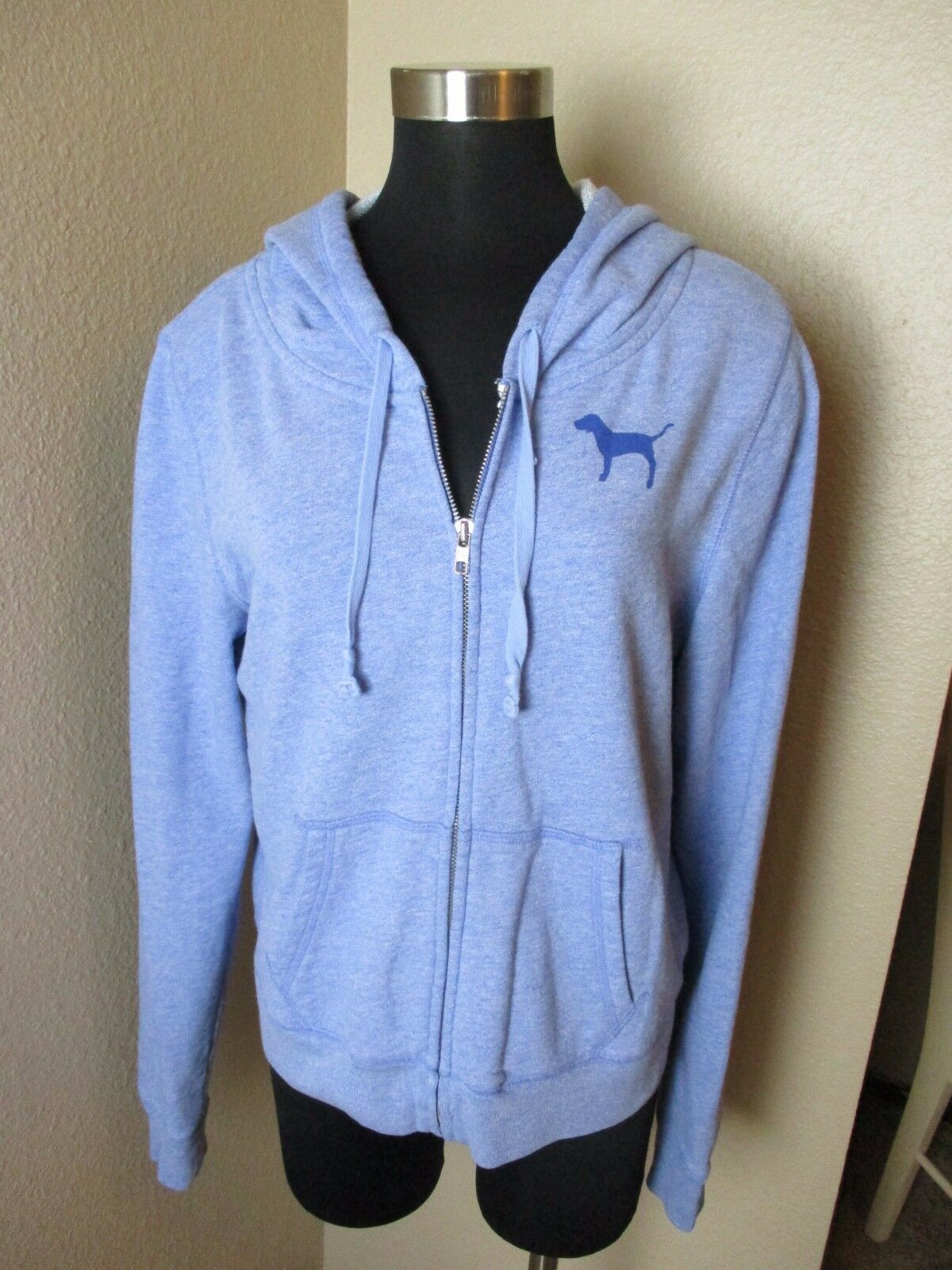 Victorias Secret Pink Zip Front Hoodie 1986 Womens bluee bluee bluee Size Large L 74cc3a