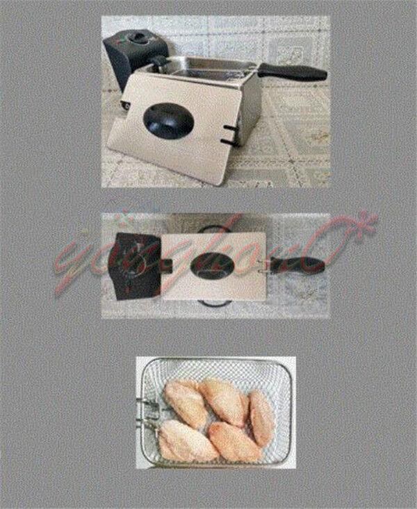1.7L New Stainless Steel Deep Fryer Oil Filtration 220V