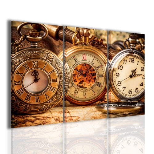 Quadri moderni 3pz 120x90cm Vintage Clock quadro moderno orologi stampe su tela