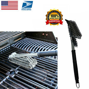 Rust Proof Bristles for Quick Compatible with All Metal Grills 2 Heavy Duty BBQ Bristle Cleaner Brush with Metal Scraper Included Easy and Effective Cleaning