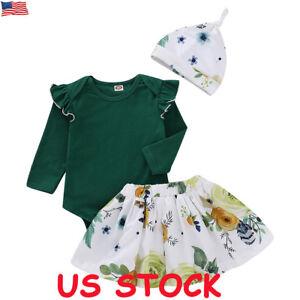Newborn-Kids-Baby-Girl-Floral-Clothes-Jumpsuit-Romper-Skirt-Dress-Hat-Outfit-Set
