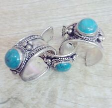 Old Tibet Silver Lace Natural Turquoise Stone Ring Adjustable Gift one pieces