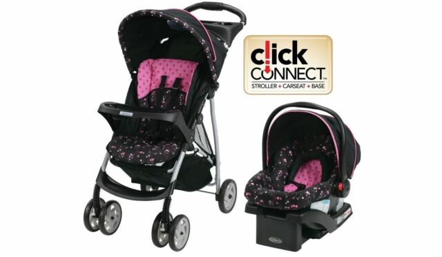 GRACO Stroller Car Seat Travel System Girls Infant Baby Kids Click Connect NEW