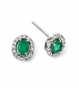 Emerald and Diamond Stud Earrings 9k White Gold Hallmark Elements Gold