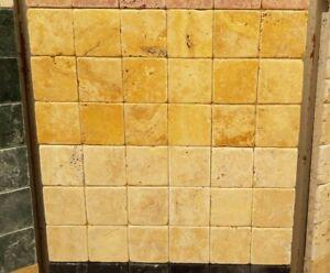 Piastrelle mosaico in pietra travertino giallo persia per