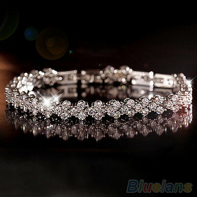 Women Attractive Roman Chain Zircon Crystal Bangle Rhinestone 3 layers Bracelet