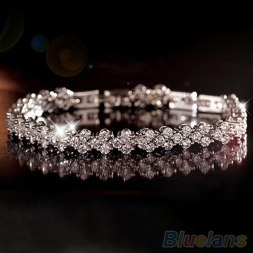 Women Chic Roman Chain Silver Zircon Crystal Bangle Rhinestone 3 layers Bracelet