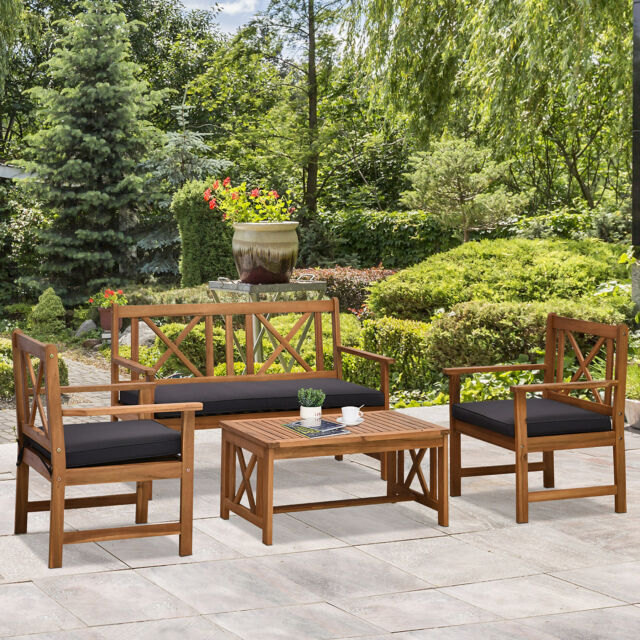 Outdoor 4 Piece Westerly Acacia Wood Deep Patio Chair Seating Chat Set For Sale Online Ebay