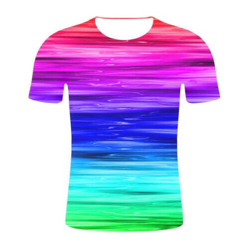 3D Men Women Hypnosis Swirl Print Short T-Shirt Sleeves Graphic Summer Tee Tops