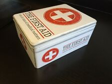 RETRO FIRST AID BOX STORAGE MEDICAL KIT TIN LID CONTAINER MEDICINE CABINET NEW