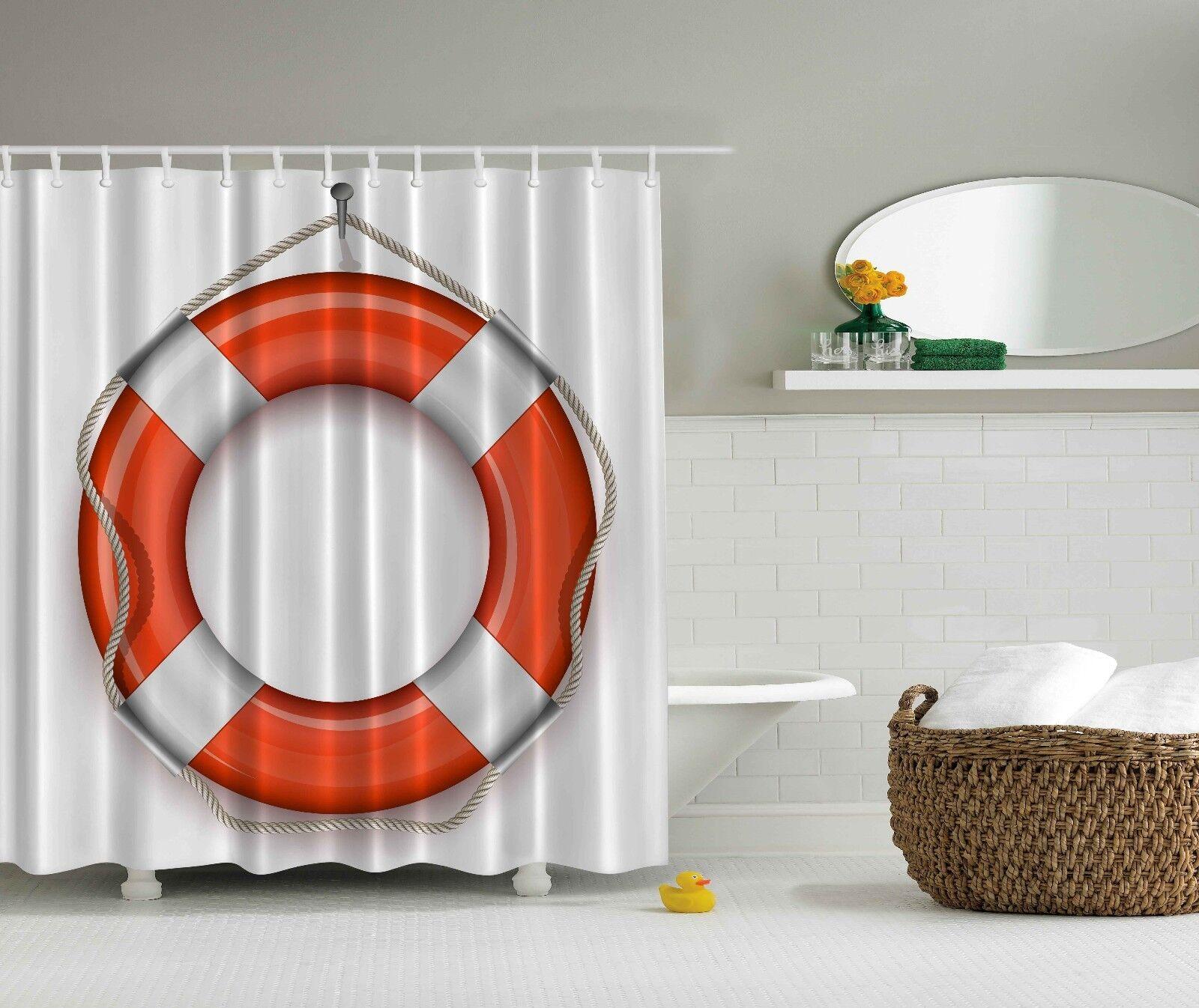 Nautical Coastal Marine Decor Life Belt Orange Shower Curtain Extra Long 84 Inch D6c500