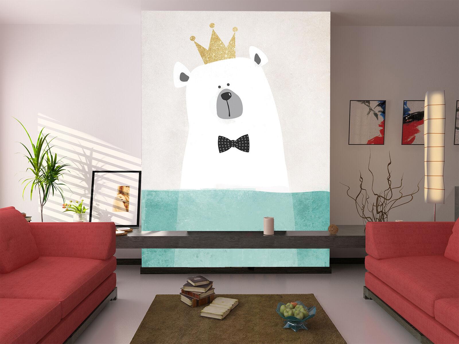 3D Ours Roi 6 Photo Papier Peint en Autocollant Murale Plafond Chambre Art