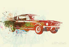 Ford Mustang Watercolor Poster By  NaxArt - 19x13