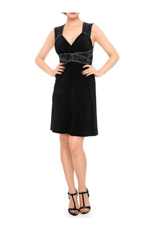 Ashley Brooke Event damen Designer-Rückendekolletékleid, schwarz