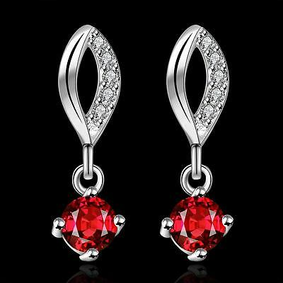 Elegant 925 silver Earrings Ruby Drop Ear Stud Women's Fashion Jewelry Gift