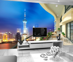 3D Shanghai Night View 838 Wallpaper Mural Paper Wall Print Wallpaper Murals UK