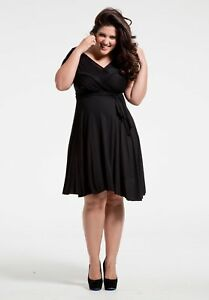 SWAK-Designs-Sexy-Black-Eternity-Wrap-Short-Dress-Versatile-Party-Festive-Fun