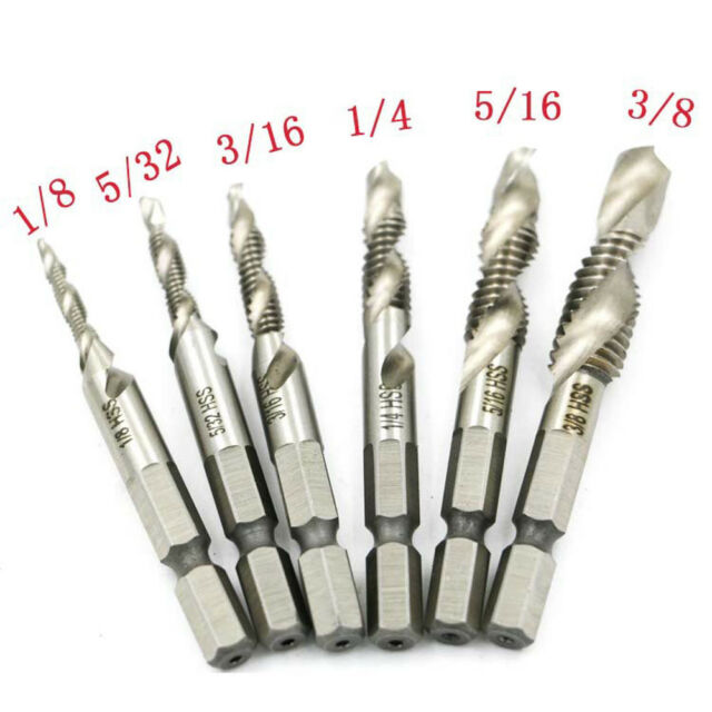 6pcs Self-centering Spiral Pointed Tap HSS Tapping Thread Hex Tap Drill Bit L/&6