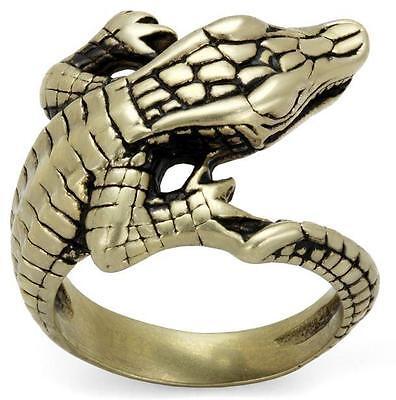 Mens Lizard Antique Steel Ring | Size P R T V W Z+1 8 9 10 11 12 13 LTK2459E