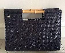 PUTU by J. MAcLEAR  Woven Black Straw Bag Purse Handbag w/ Bamboo Handles NWOT