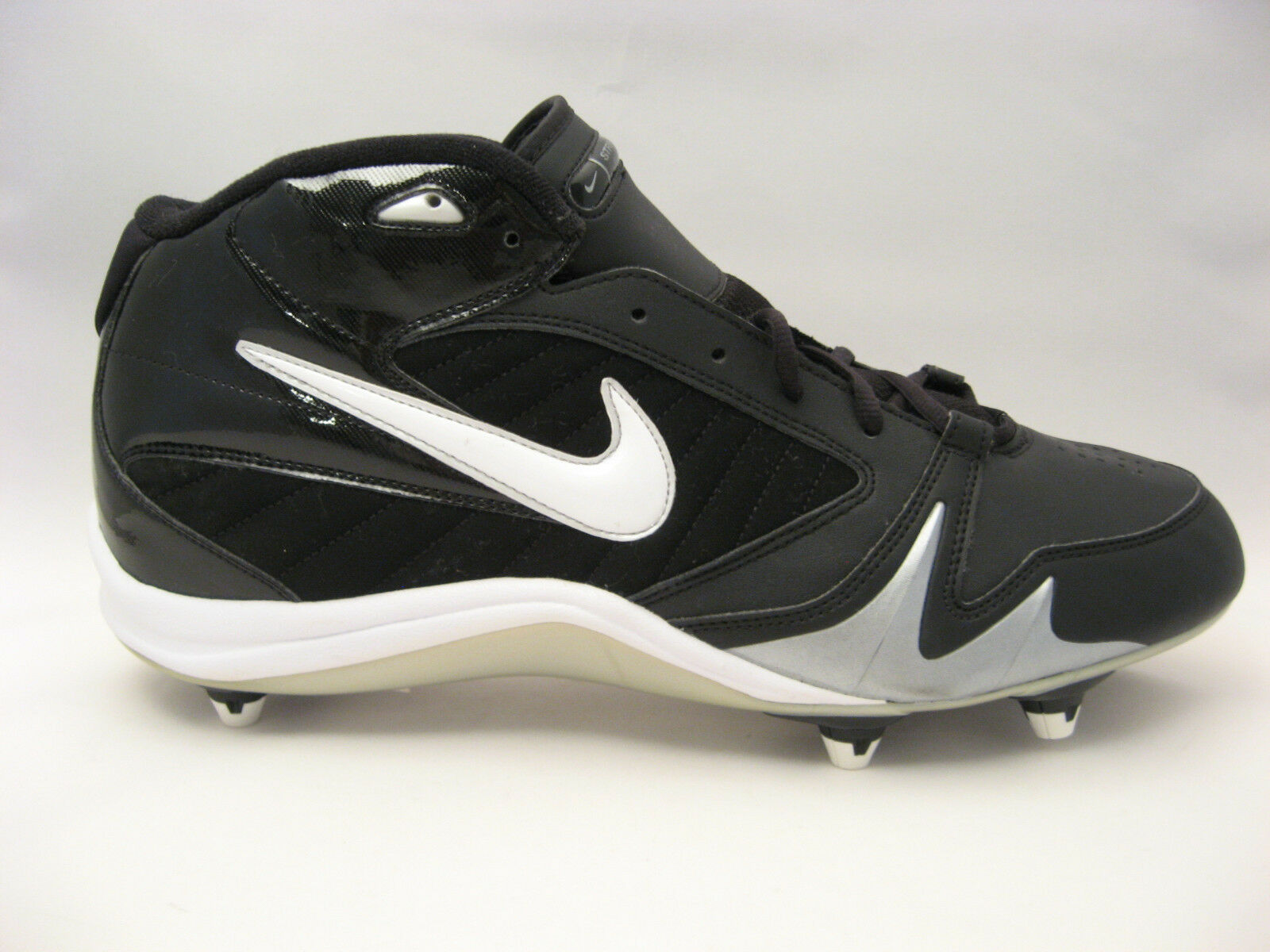 Nike Football Cleats 13.5 Shoes Strike Force 3/4 D Black White Silver 13 1/2 NEW