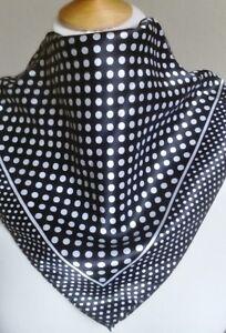Square Satin Silk Neck Scarf Cravat Bandana in Classic Black White Polkadot