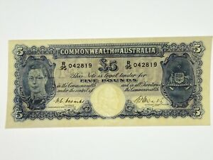 1949-Five-Pounds-Coombs-Watt-Banknote-in-Very-Fine-Condition