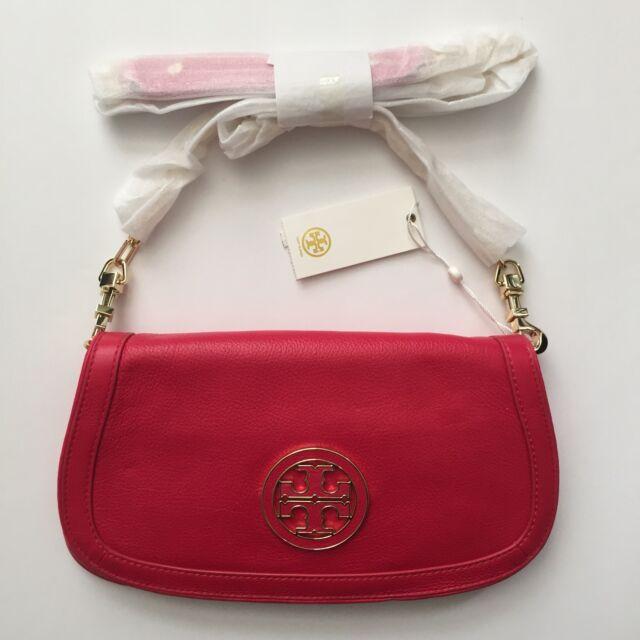 New TORY BURCH Amanda Logo Clutch Crossbody Chain Bag New Carnival Red Gold $350