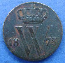 Nederland - The Netherlands 1873 halve cent, 1/2 cent, Willem 3. KM# 90.