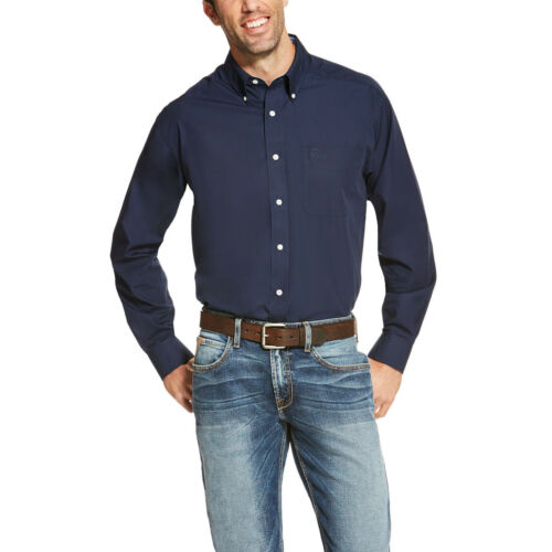 Ariat® Men/'s Wrinkle Free Navy Blue Long Sleeve Button Shirt 10020330