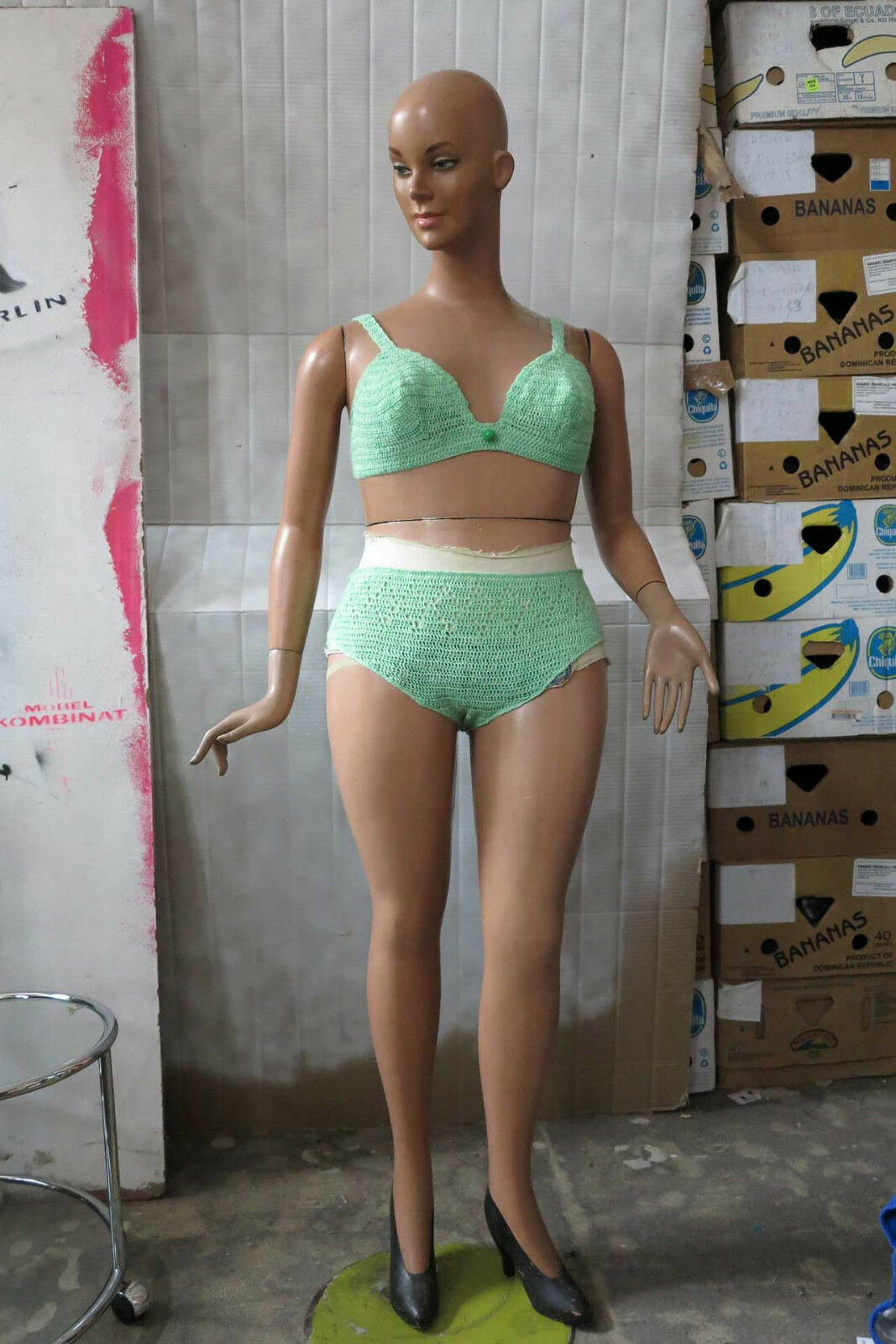 Bikini MINTverde merletto 60er True Vintage 60s donna swimsuit CROCHETED MINT