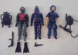 Lot G.i.joe Cobra Télé Viper, Chef, Anguille Figurines Vintage 85-86