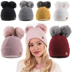 Women-Winter-Beanie-Hat-Knitted-Chunky-With-Double-Pom-Pom-Ladies-Faux-Fur-Hats