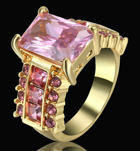 Pink-Sapphire-CZ-Wedding-Ring-Men-Womens-10KT-Yellow-Gold-Filled-Size-6-Gift