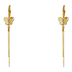 Details About Real 14k Yellow Gold Fancy Erfly Chain Earrings Women Dangle Hanging 2 5