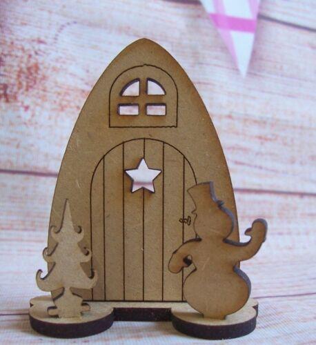 Mini Mdf Forma de Navidad Fantasía puerta Craft en Blanco