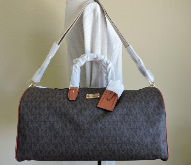 Michael Kors Jet Set Brown Logo Weekender Large Overnight Bag Nwt